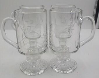 Princess House - Heritage Pattern - Set of 4 - Irish Coffee Mugs - Coffee Mugs - Chic - Elegant