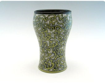 Etched Porcelain Tumbler/Beer Glass with Calligraphic Design