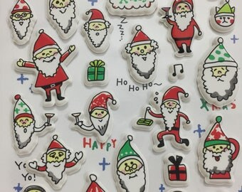 Cute puffy stickers - whimisical santa clauses funny and cool