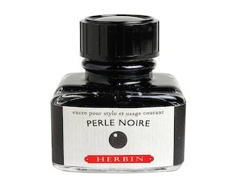"""Perle Noire - J. Herbin """"D"""" Black Fountain Pen Ink - 1 oz bottle"""