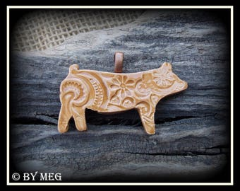 "Show Pig, Hog, Jewelry, Earthenware, Ceramic Pendant 2.50"""
