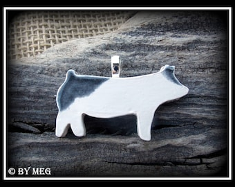 Blue Butt Show Pig, Hog, Jewelry, Earthenware, Ceramic Pendant 2""