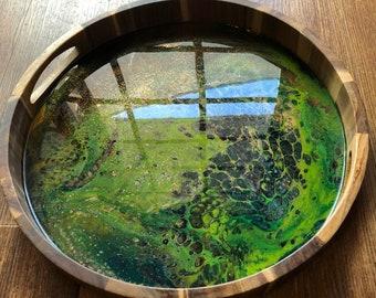 Green Moss Resin Art Wood Acacia Tray with Handles