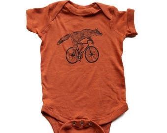 SUMMER SALE Fox on a bicycle- Baby Onesie -  Kids T Shirt, Children Tee, Tri Blend Tee, Handmade graphic tee