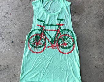 Red and Green Bikes - Womens Muscle Tank - Mint