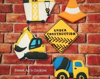 One Dozen Construction Personalized Birthday Cookies