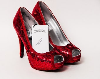 Ready to Ship - WMNS Size 5.5 Red Sequin High Heels Peep Toe Pumps Shoes