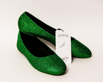 Ready 2 Ship - True to Size 9 Glitter Kelly Green Ballet Flats Slippers Shoes