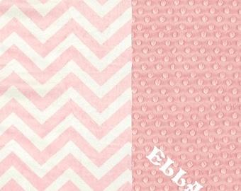 SALE Crib Blanket // Pink Chevron Minky Baby Blanket, Personalized Baby Blanket // Pink Chevron Baby Blanket // Name Blanket / Crib Size