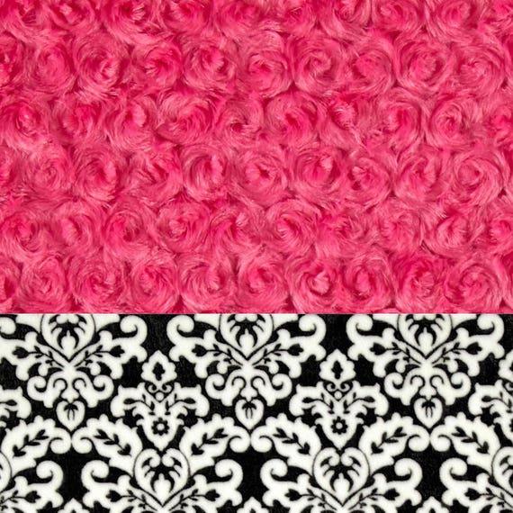 Minky Adult Blanket, Personalized Blanket - Pink Fuchsia Rose & Black Throw  Twin Size // Pink Black Blanket // Soft Blanket // Name Blanket