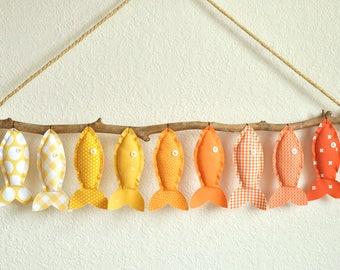 Custom Nine Yellow/Orange Hanging Fish - Nursery Wall Decor - Child's Room Fish Art