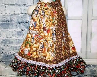 Girls Dress 2T/3T Teddy Bears Brown Yellow Pillowcase Dress, Pillow Case Dress, Sundress, Boutique Dress
