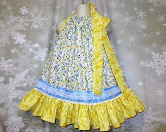 Girls Dress 2T/3T Blue Yellow Floral Pillowcase Dress, Pillow Case Dress, Sundress, Boutique Dress