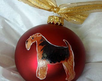 Welsh Terrier Dog Hand Painted Christmas Ornament - Can Be Personalized with Name