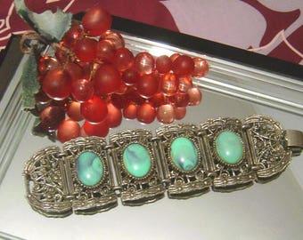 Vintage faux Turquoise panel Bracelet ornate silvertone Stunning!