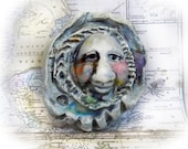 OOAK pottery bead -Focal Face Bead, OOAK focal bead - Statement bead supply - one of kind bead - Handmade Ceramic bead,   # 60