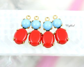 Vintage Glass Stones Light Blue & Opaque Red 16x6mm Set Stones Earring Drops Vintage Oval 1 Ring Brass Settings - 2