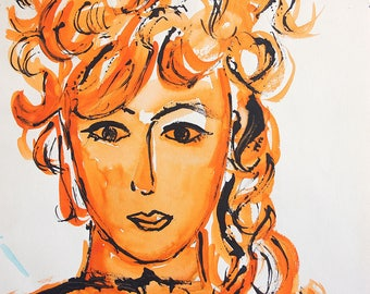 1960's Watercolor Portrait of a Woman / 18 x 12 / Signed and Dated / Mid Century Art / Orange and Black
