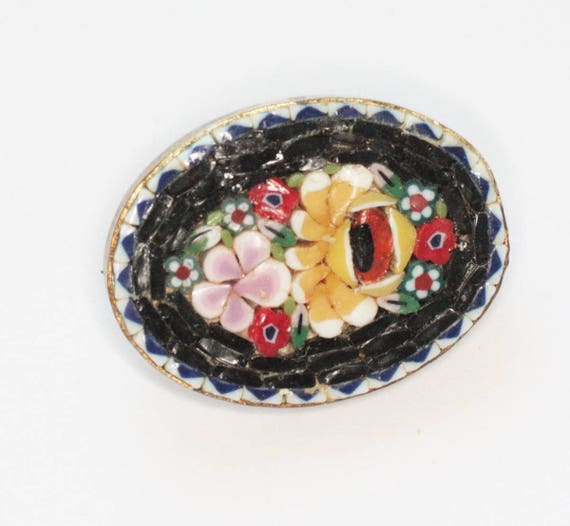 Oval Mosaic Tile Pin Floral Design Italy Signed Black Yellow Pink Red