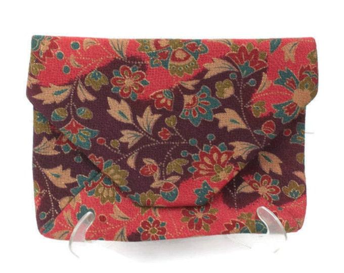 Asian Envelope Clutch Handbag Red Floral Print Vintage