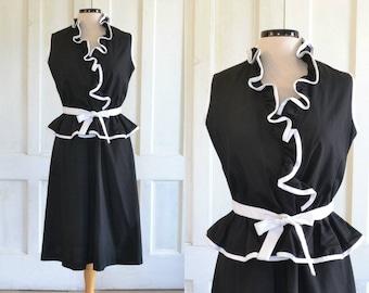 80s Black and White Peplum Dress Wrap Bodice Ruffle Collar
