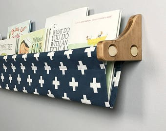Book Sling and Wooden Brackets - Navy and White Cross - Choose your size