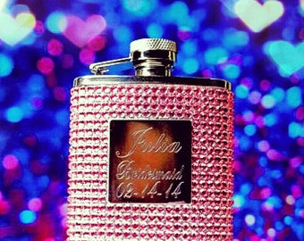 Personalized Pink Crystal Flask Rhinestones Bling Bridesmaids Gifts Engraved Monogram Bachelorette Party Girl's Night