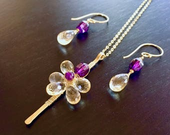 Citrine and Amethyst Necklace Set