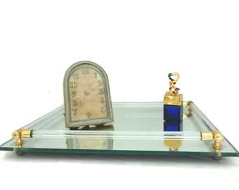 Mirrored Vanity Tray, Vanity Tray, Perfume Tray, Dresser Tray, Boudoir Tray, Glass Rails Footed, Mid Century Modern