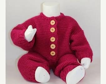 40% OFF SALE Instant Digital File PDF Download - Baby Aran Garter Stitch Onesie knitting pattern
