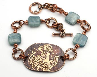 Copper mermaid bracelet, blue kyanite beads, etched jewelry, 8 inches long