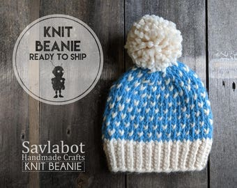 knit hat - Toddler blue fair isle - kid hat - with pom pom - chunky knit - ready to ship - fair isle