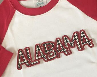 Sport team embroidered Alabama applique red white ragland sleeves