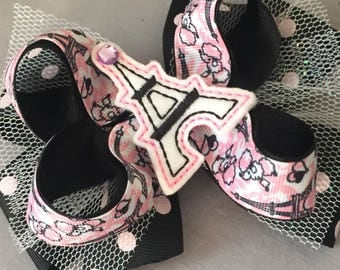 Vacation  Eifel Tower girly boutique hair bow  girls gair bow