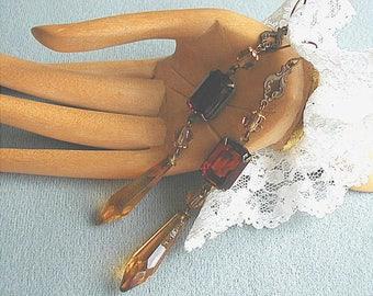Vintage Amber Topaz Czech Glass Dangle Earrings