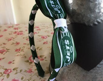 NY Jets green and white Woven Headband with Jets Logo Ribbon Bow attached - Stunning Boutique Quality GIFT