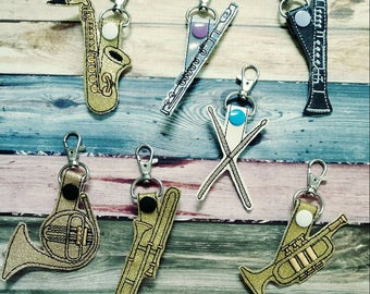 Instrument keychain - musical instrument - snap tab - lanyard - gift - band director - band gift - stocking stuffer - gift for musician