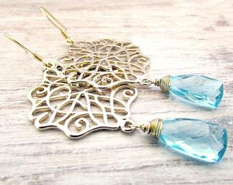 Womens Gemstone Earrings - Gold Filigree Moroccan Earrings - Bohemian Moroccan Earrings - Gold Moroccan Earrings - Blue Gemstone Earrings