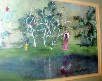 Vintage HANS BERGER WATERCOLOR Painting Ladies Children Park Balloons Listed Artist