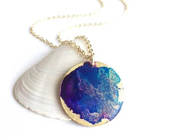 Violet Watercolor Small Circle Necklace
