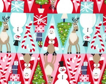 Michael Miller Holiday Fabric Holiday Row in color Multi, Choose your cut