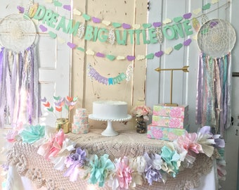 Baby Shower Decorations Package.  Dream Big Little One Dream catcher Theme Party in a Box.  CUSTOM colors available.  Reuse in Nursery!