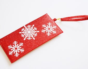 Christmas clutch bag - Glitter Clutch bag - sparkly snowflakes evening purse