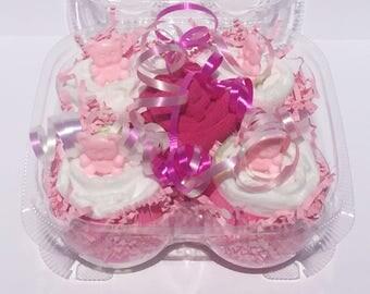 Diaper Cupcakes, Diaper Cupcake, Pink Baby Shower Cupcakes, Pink Baby Cupcake