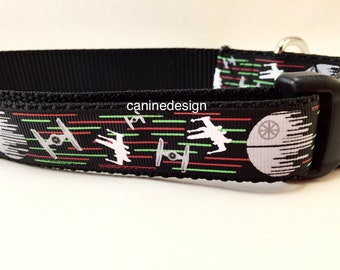 Dog Collar, Death Star, 1 inch wide, adjustable, quick release, medium, 13-19 inches