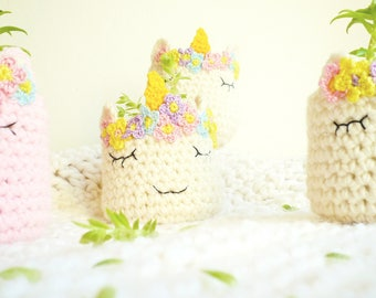 Unicorn Planter Pattern - Crochet Unicorn Head Pattern - Unicorn Vase Pattern - Indoor Succulent Planter - Unicorn Lover - Wedding gift DIY
