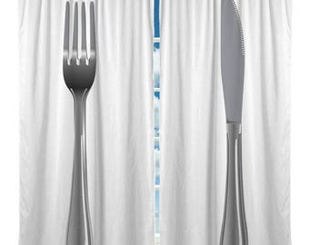 Custom Fork & Knife Window Curtain,Medium Silver Grey on White Background,  Any Size - Any Colors