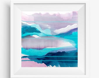 Digital Print, Abstract Printable Art, Abstract Art Print, Square Abstract Print, Lavender Purple Turquoise White - Meditation on Clarity 2