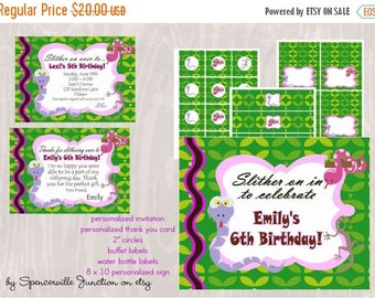 ON SALE Digital Reptile Girl Birthday Invitation with Printable Party Pack DIY