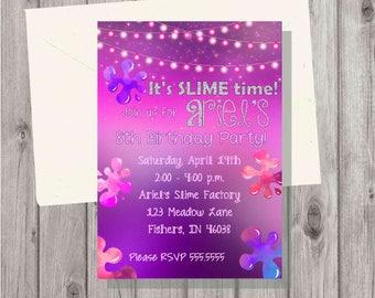 Digital Teen Tween Girl Pink and Purple Glitter Slime Making Craft Birthday Party Invitation Printable